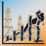 Een prijsvooruitgang op olie draagt tot globale cris bij Stock Fotografie
