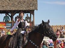 Een Prinses op Horseback bij het de Renaissancefestival van Arizona Royalty-vrije Stock Foto