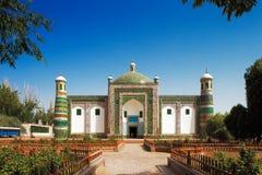 Een privé die familiegraf in de vorm van een moskee in de oude stad van Kashgar, China wordt gebouwd Stock Afbeeldingen