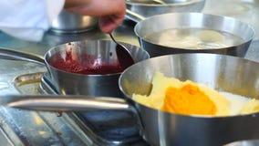 Een professionele chef-kok bereidt voedsel in de keuken van het restaurant in de schotels met roestvrij staal voor Voorbereiding  stock video