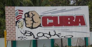Een Propagandaaanplakbord in Cuba royalty-vrije stock afbeelding