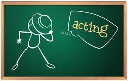 Een raad met een beeld van een mens acteren stock illustratie