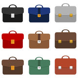 Een reeks aktentassen verschillende kleuren Aktentaszakenman royalty-vrije illustratie