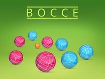 Een reeks ballen om te spelen bocce en petanque Vector illustratie Stock Afbeeldingen