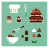 Een reeks banketbakkerijpunten en elementen Chocolade Vector royalty-vrije stock foto's