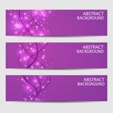 Een reeks banners Samenvatting met golvende lijnen op een purpere achtergrond Stock Illustratie