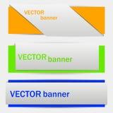 Een reeks banners in verschillende kleuren Stock Foto's