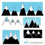 Een reeks berg grafische pictogrammen Stock Afbeelding