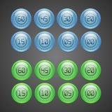 Een reeks blauwe, groene digitale horloges Stock Foto