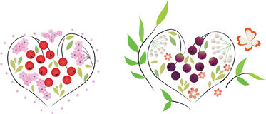 Een reeks bloemenharten Stock Afbeeldingen