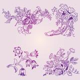 Een reeks bloemenpatronen Royalty-vrije Stock Afbeeldingen