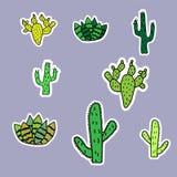 Een reeks cactusstickers Eenvoudige beelden van cactussen vector illustratie