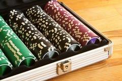 Een reeks casinospaanders royalty-vrije stock foto