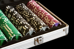 Een reeks casinospaanders Stock Afbeelding