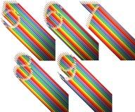 Een reeks cijfers van vijf tot negen, van kleurpotloden over witte achtergrond wordt gemaakt die Stock Foto