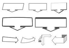 Een reeks 2D en 3D pijlenelementen Stock Foto's