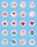 Een reeks 20 de Dagpictogram van Pictogramvalentine ` s in media wordt gebruikt die Inzameling van Valentine Icons Stock Afbeeldingen