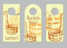 Een reeks deurhangers, etiketten voor vooruitgang van het baden van goederen Reclame van producten voor een sauna, de badende die vector illustratie