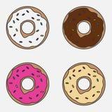 Een reeks donuts Stock Afbeeldingen