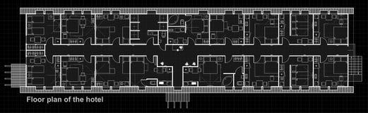 Een reeks dunne lijn vectorpictogrammen voor binnenlandse planning met meubilair Het ontwerpproject van het vloerplan van hotelru vector illustratie