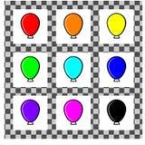 Een reeks eenvoudige ballons van verschillende kleuren in vlakke stijl Elk individu is geïsoleerd op een witte achtergrond Eenvou stock illustratie