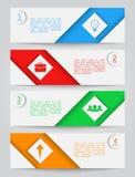 Een reeks eenvoudige gekleurde banners Stock Afbeeldingen