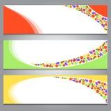 Een reeks eenvoudige kleurrijke banners/kopballen met een fruitthema Royalty-vrije Stock Foto's