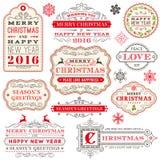 Een reeks Elegante Kerstmis vectoretiketten Stock Foto