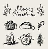 Een reeks elementen van de Kerstmisdecoratie, handschrift Royalty-vrije Stock Fotografie