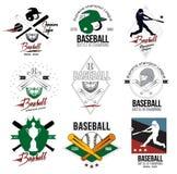 Een reeks emblemen, etiketten en ontwerpelementen van honkbal Royalty-vrije Stock Foto's