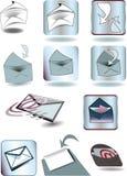 Een reeks enveloppen en knopen Stock Foto's
