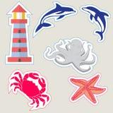 Een reeks etiketten voor ontwerp, marine en oceaan Stock Foto's