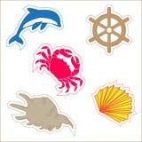 Een reeks etiketten voor ontwerp, marine en oceaan Royalty-vrije Stock Afbeelding