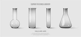 Een reeks flessen en reageerbuizen Materiaal voor chemisch laboratorium De transparante Vectorillustratie van glasreageerbuizen vector illustratie