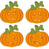 Een reeks geïsoleerde pictogrammen van oranje pompoenen met gesneden gezichten Royalty-vrije Stock Fotografie