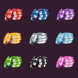 Een reeks gekleurde spelspaanders royalty-vrije illustratie