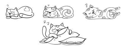 Een reeks getrokken katten Stock Foto's