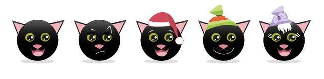 Een reeks grafische emoticons - katten Emojiinzameling Glimlachpictogrammen stock illustratie
