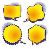 Een reeks grappige bellen met halftone schaduwen stock illustratie