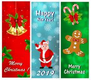 Een reeks groetkaarten voor het Nieuwjaar en Kerstmis vector illustratie