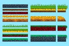 Een reeks grondbeginselen voor het creëren van pixel naadloos landschap vector illustratie