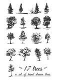 Een reeks hand-drawn bomen Stock Fotografie