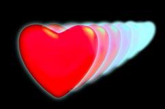 Een reeks harten met op een zwarte achtergrond. Stock Foto's
