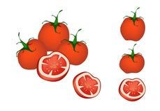 Een reeks Heerlijke Verse Rode Tomaten royalty-vrije illustratie
