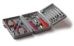 Een reeks hulpmiddelen in de doos. Stock Fotografie