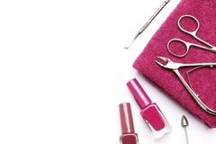 Een reeks hulpmiddelen voor manicure stock foto