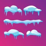Een reeks ijzige ijskegels met scherpe einden Vector illustratie royalty-vrije illustratie