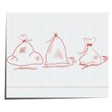 Een reeks jutezakken van hand-drawn Royalty-vrije Stock Fotografie