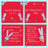 Een reeks kaarten met beeldverhaalkonijnen voor Valentijnskaartendag Met vakantiegroeten Vierkante heldere roze achtergrond met stock illustratie