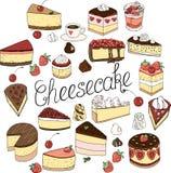 Een reeks kaastaartenelementen, cakes en gebakjes, krabbel plaatste met de hand getrokken royalty-vrije illustratie